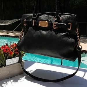 MK Soft Black Leather w/ Rose Gold Slouchy Bag